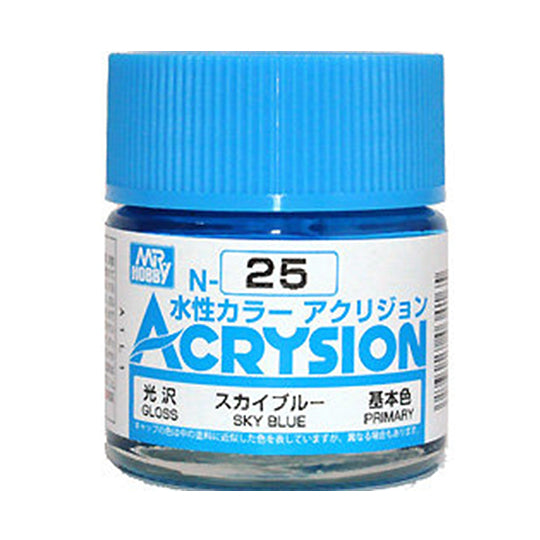MR. HOBBY ACRYSION WATER BASED COLOR N-25 (GLOSS SKY BLUE) 10ml