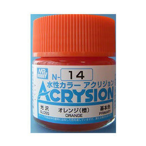 MR. HOBBY ACRYSION WATER BASED COLOR N-14 (GLOSS ORANGE) 10ml