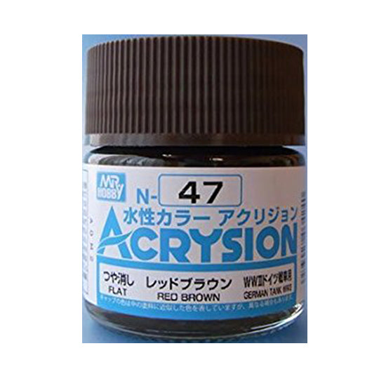 MR. HOBBY ACRYSION WATER BASED COLOR N-47 (FLAT RED BROWN) 10ml