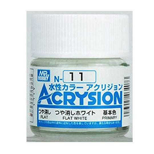 MR. HOBBY ACRYSION WATER BASED COLOR N-11【FLAT WHITE】10ml