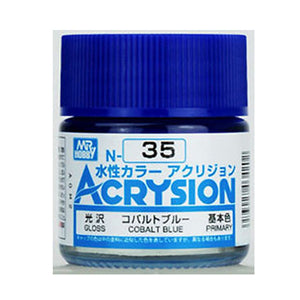 MR. HOBBY ACRYSION WATER BASED COLOR N-35 (GLOSS COBALT BLUE) 10ml