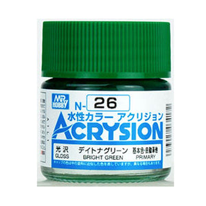 MR. HOBBY ACRYSION WATER BASED COLOR N-26 (GLOSS BRIGHT GREEN) 10ml