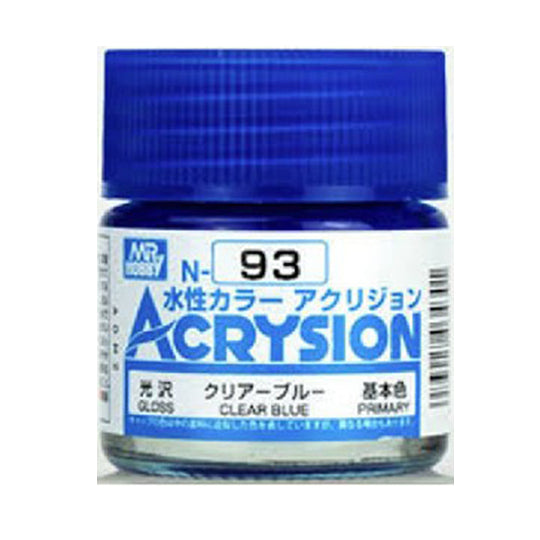 MR. HOBBY ACRYSION WATER BASED COLOR N-93 (GLOSS CLEAR BLUE) 10ml