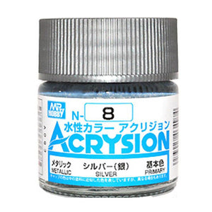 MR. HOBBY ACRYSION WATER BASED COLOR N-8【METALLIC SILVER】10ml