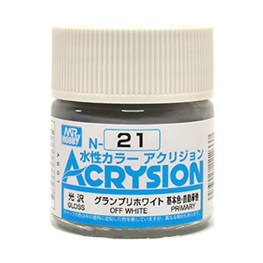 MR. HOBBY ACRYSION WATER BASED COLOR N-21 (GLOSS OFF WHITE) 10ml