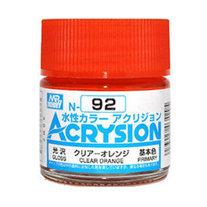 MR. HOBBY ACRYSION WATER BASED COLOR N-92 (GLOSS CLEAR ORANGE) 10ml