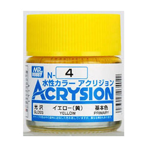 MR. HOBBY ACRYSION WATER BASED COLOR N-4 【GLOSS YELLOW】10ml