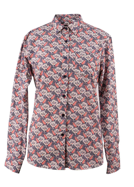 Ladies Retro Flowers Long Sleeve Shirt