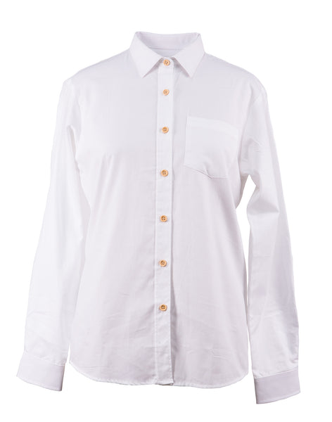 Ladies Classic White Long Sleeve Shirt
