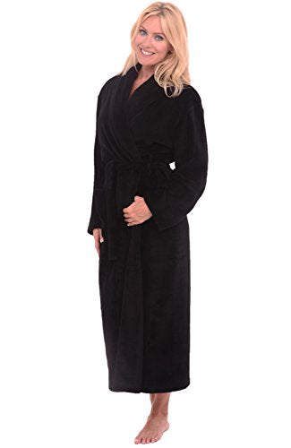 Alexander Del Rossa Womens Fleece Solid Color Robe, Long Bathrobe