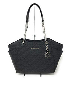 MICHAEL KORS SIGNATURE JET SET TRAVEL CHAIN SHOULDER TOTE BAG BLACK PVC: Clothing