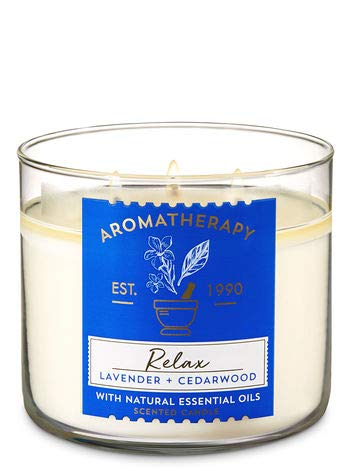 Bath & Body Works 3 Wick Relax Lavender & Cedarwood Scented Aromatherapy Candle