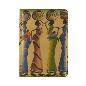 LEISISI African Women Genuine Real Leather Passport Holder Cover Travel Case