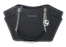 Load image into Gallery viewer, MICHAEL KORS SIGNATURE JET SET TRAVEL CHAIN SHOULDER TOTE BAG BLACK PVC: Clothing