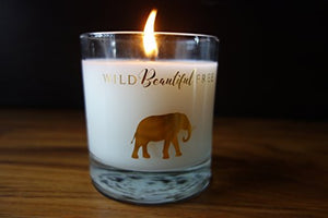 Wild Beautiful Free Lavender and Vanilla Organic Aromatherapy Candle with Pure Essential Oils for Stress Relief and Sleep - Dream Elephant Luxury Candle