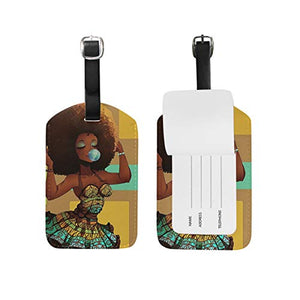 African American Girl Luggage Travel Tag