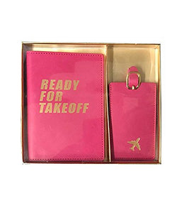 Eccolo Faux Leather Passport Cover and Luggage Tag Set (Ready for Takeoff)