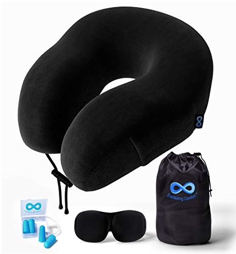 Everlasting Comfort 100% Pure Memory Foam Neck Pillow Airplane Travel Kit with Ultra Plush Velour Cover, Sleep Mask and Earplugs: Gateway