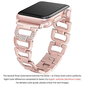 Secbolt Bling Band Compatible Apple Watch Band 38mm 40mm iWatch Series 4, Series 3, Series 2, Series 1, Diamond Rhinestone Stainless Steel Metal Wristband Strap, Rose Gold: Gateway