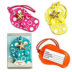 Colorful Unique Flip Flop Luggage Tags (Set of 4 in Blue, Yellow, Pink and Orange): Office Products