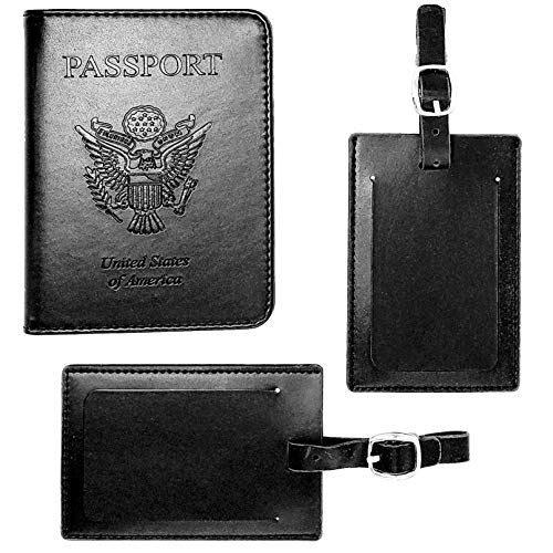 Leather Passport Holder w/RFID Shield - Privacy Passport Wallet + 2 Matching Luggage Tags | Passport Covers