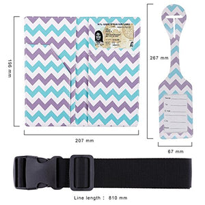 Passport Wallet Holder Cover Travel Wallet with 2 Matching Luggage Tags and Luggage Strap