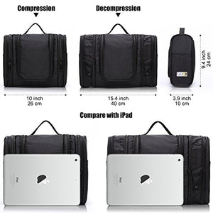 WANDF Expandable Toiletry Bag Dopp Kit TSA Approved Bottles Water Resistant Nylon, Black : Gateway