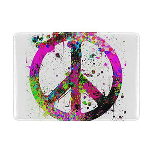 LEISISI Colorful Peace Sign Genuine Real Leather Passport Holder Cover Travel Case