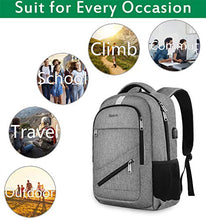 Load image into Gallery viewer, Travel Laptop Backpack, Anti Theft Backpack with USB Charging Port for Men and Women, Water Resistant College School Computer Bookbag, Slim Business Bags with RFID Pocket Fits 15.6 Inch Laptops- Grey: Gateway