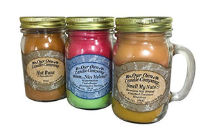 Our Own Candle Company Smell My Nuts, Nice Melons, and Hot Buns - Sassy Pack Scented Mason Jar Candles, 13 oz (3 Pack): Home & Kitchen