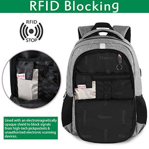 Travel Laptop Backpack, Anti Theft Backpack with USB Charging Port for Men and Women, Water Resistant College School Computer Bookbag, Slim Business Bags with RFID Pocket Fits 15.6 Inch Laptops- Grey: Gateway