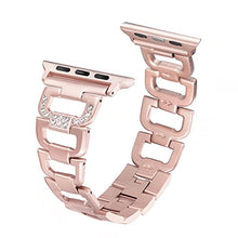 Load image into Gallery viewer, Secbolt Bling Band Compatible Apple Watch Band 38mm 40mm iWatch Series 4, Series 3, Series 2, Series 1, Diamond Rhinestone Stainless Steel Metal Wristband Strap, Rose Gold: Gateway