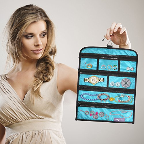 Tidybagz | Jewelry Roll Bag | Travel & Home Organizer | Safe, Elegant, Zippered Solution to Jewelry Organization | Large 7 Compartment Roll Bag: Gateway