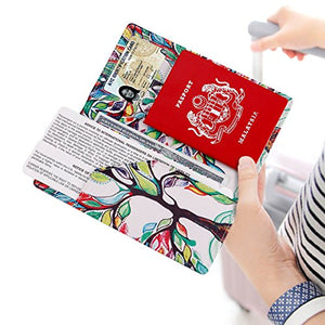 Passport Wallet Holder Cover Travel Wallet with 2 Matching Luggage Tags and Luggage Strap (LOVE TREE) | Passport Covers