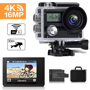 FITFORT Waterproof Sport/Action Camera  Ultra HD with 170 Degree 2 Inch LCD Screen Remote Control
