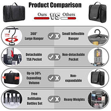 Load image into Gallery viewer, WANDF Expandable Toiletry Bag Dopp Kit TSA Approved Bottles Water Resistant Nylon, Black : Gateway