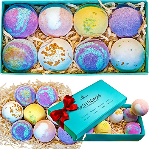 Bath Bombs Gift Set - 8 Luxury All Vegan Bubble Fizzies For Relaxation