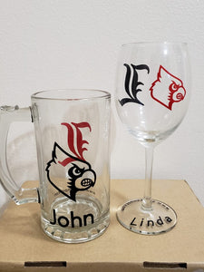 Personalized Wine glass and Beer mug set