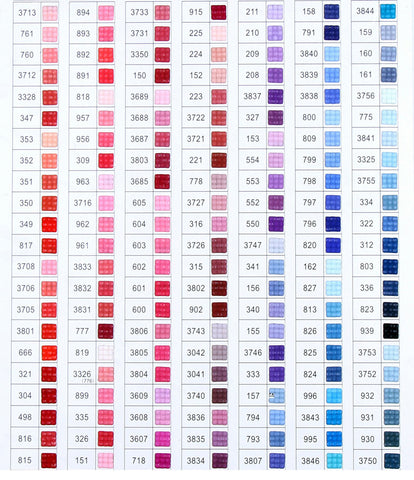 Diamond Painting Color Charts Shimmer Stitch