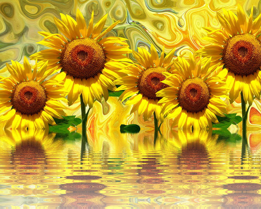 "Sunflower Ripples - 16""x20"" (40cm x 50cm) - Round or Square Diamonds"