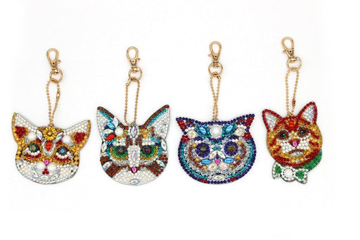 Diamond Painting Keychains: Set of 4 Cats