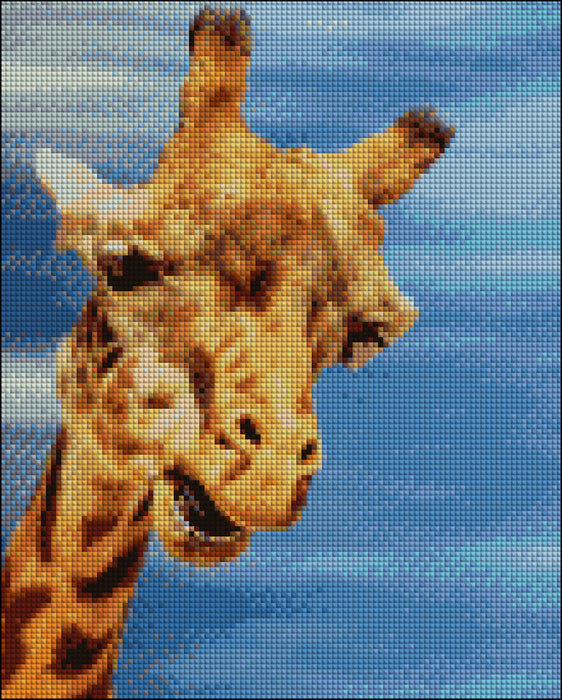 This is a photo of Giraffe face in a diamond canvass