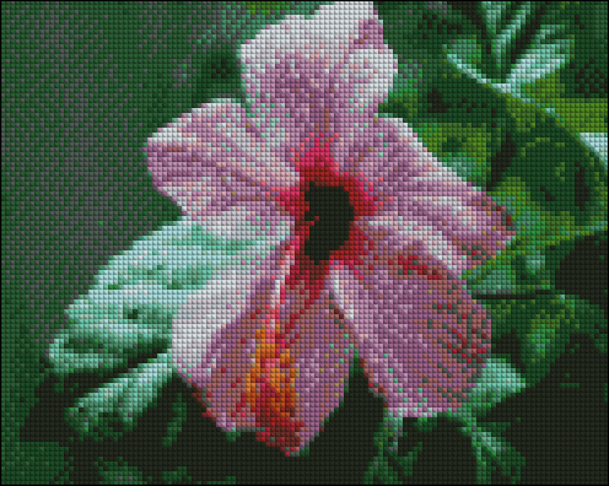 This is a photo of a dew kissed pink flower pic in a diamond painting canvas.
