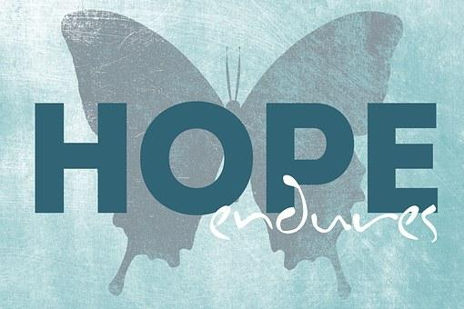 This is a photo of a blue text card with Hope Endures written and a silhouette of a butterfly in the background.