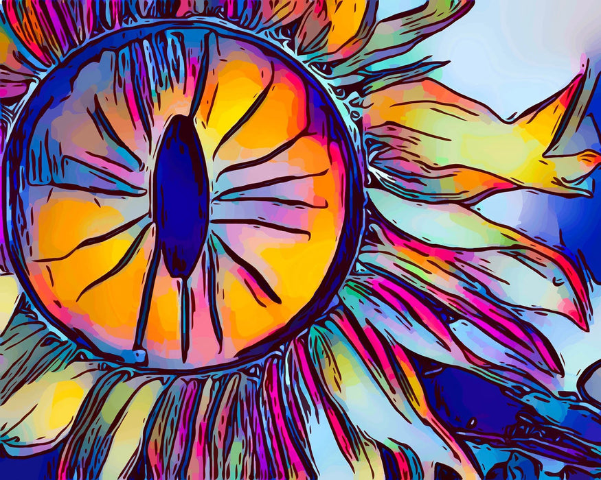 This is a photo (close up) of a drawing of an colorful eye of a dragon
