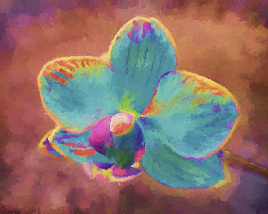 This is a painted photo of a blue orchid flower