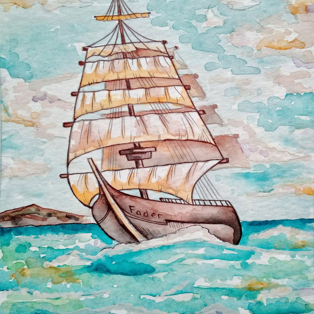 This is a photo of an Ocean Sailboat (painting)