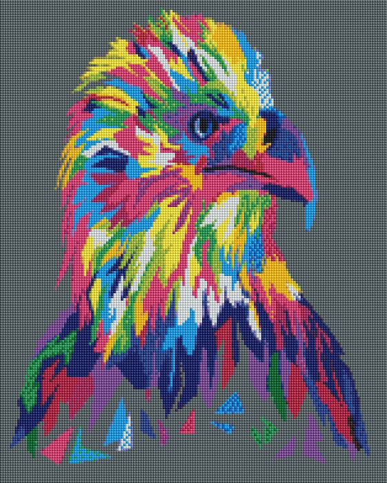 This is a photo of Colorful Eagle in a diamond painting canvas.