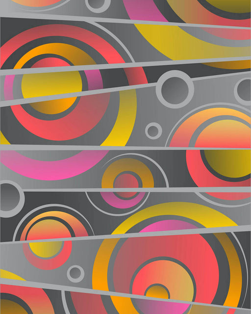 This is a photo of an Abstract with Yellow, Red, Orange and Purple Circles  on a Gray background with zigzag lines