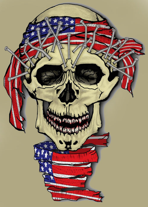 This is a photo of a skull wearing a US Flag printed Bandana and neckband.